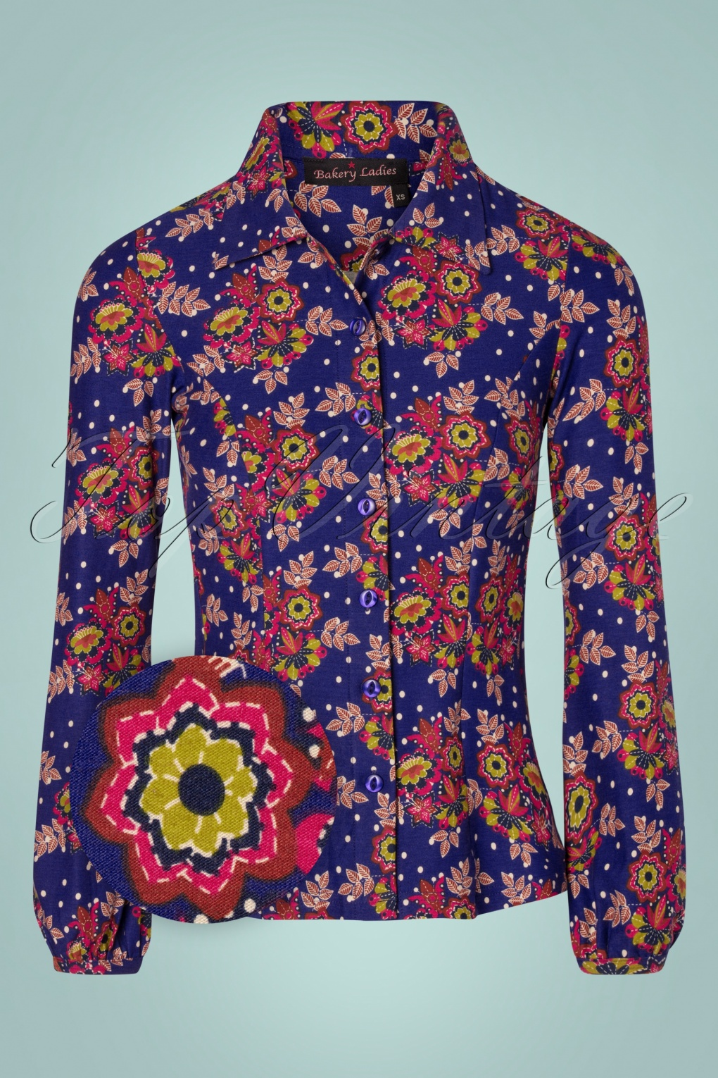 60s Shirts, T-shirts, Blouses, Hippie Shirts 60s Ginny Clematis Flowers Dots Blouse in Royal Blue £54.76 AT vintagedancer.com