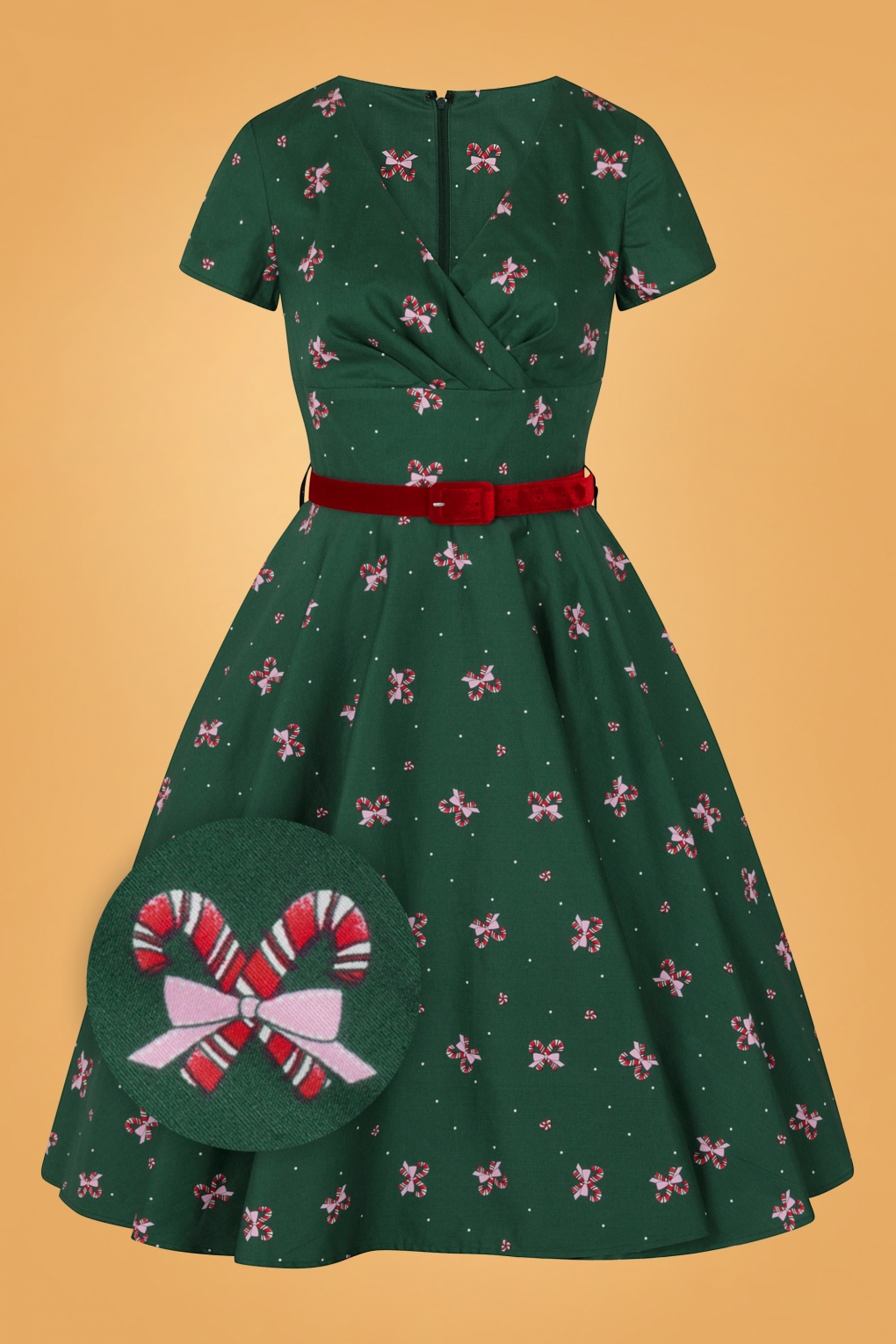 Vintage Style Dresses | Vintage Inspired Dresses 50s Beth Swing Dress in Dark Green £67.84 AT vintagedancer.com