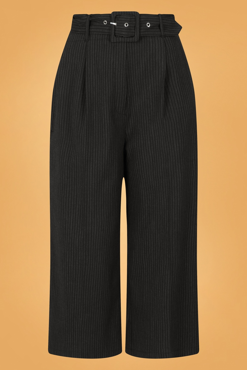 Vintage Wide Leg Pants & Beach Pajamas History 30s Benny Pinstripe Culottes in Black and Grey £37.84 AT vintagedancer.com