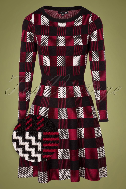 60s Dresses | 1960s Dresses Mod, Mini, Hippie 60s Georgina Knitted Dress in Red and Black £82.16 AT vintagedancer.com