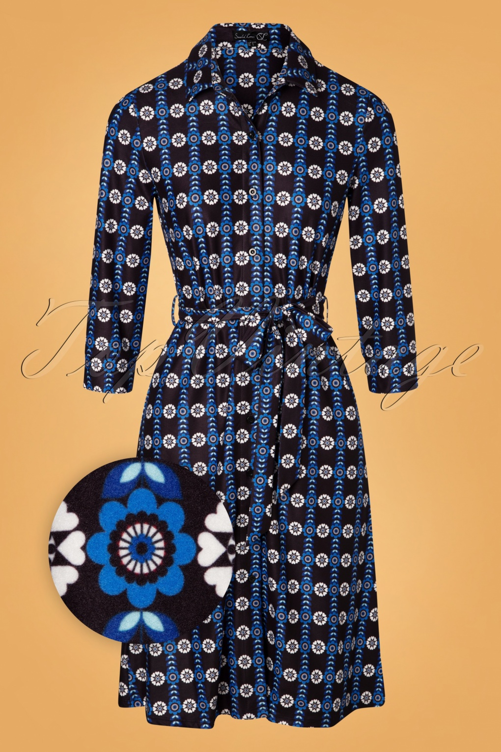 Vintage Style Dresses | Vintage Inspired Dresses 60s Cara Floral  A-Line Dress in Black and Blue £62.18 AT vintagedancer.com