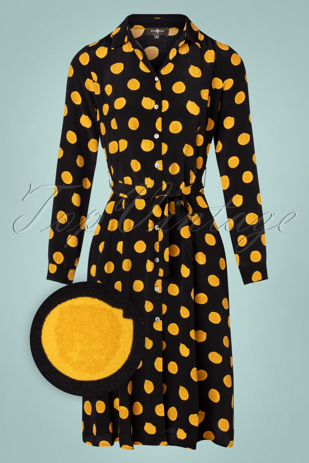 Vintage Style Dresses | Vintage Inspired Dresses 60s Spot On Shirt Dress in Black and Yellow £79.95 AT vintagedancer.com