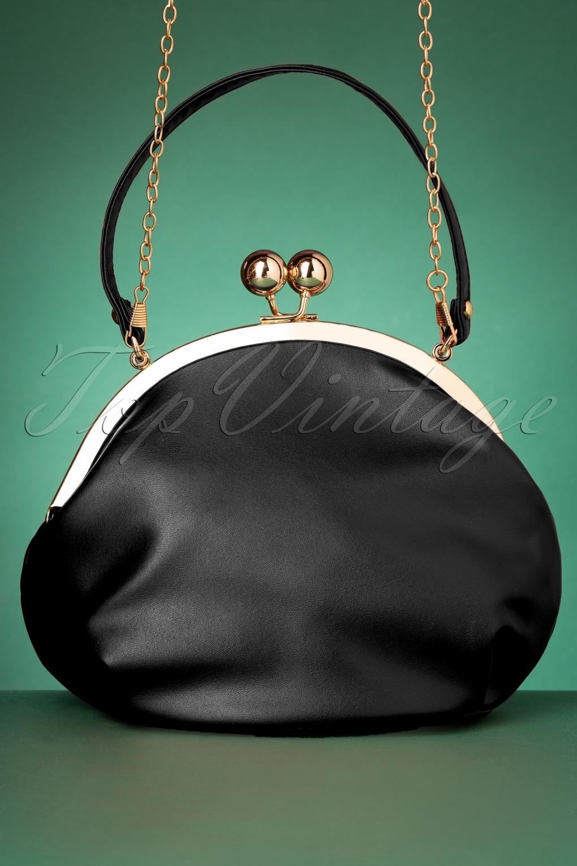 1950s Handbags, Purses, and Evening Bag Styles 50s Milly Elegant Daytime Bag in Black £36.16 AT vintagedancer.com