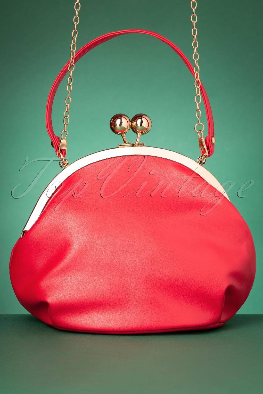 Vintage Handbags, Purses, Bags *New* 50s Milly Elegant Daytime Bag in Red £36.16 AT vintagedancer.com
