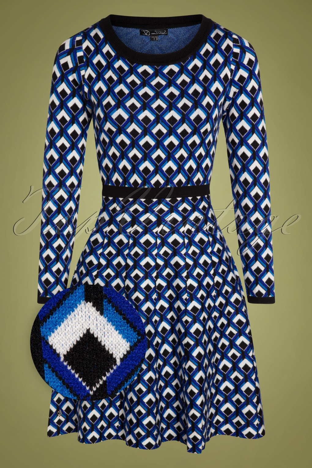 60s Dresses | 1960s Dresses Mod, Mini, Hippie 60s Georgina Knitted Dress in Cobalt Blue and Black £82.16 AT vintagedancer.com