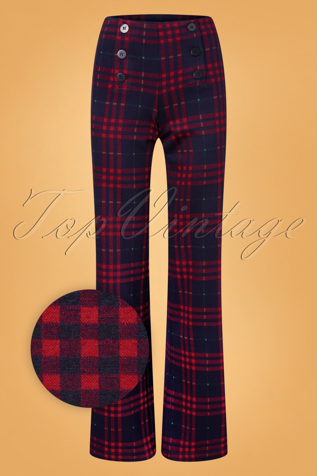 60s – 70s Pants, Jeans, Hippie, Bell Bottoms, Jumpsuits 60s Falda Plaid Palazzo Pants in Navy and Red £76.89 AT vintagedancer.com