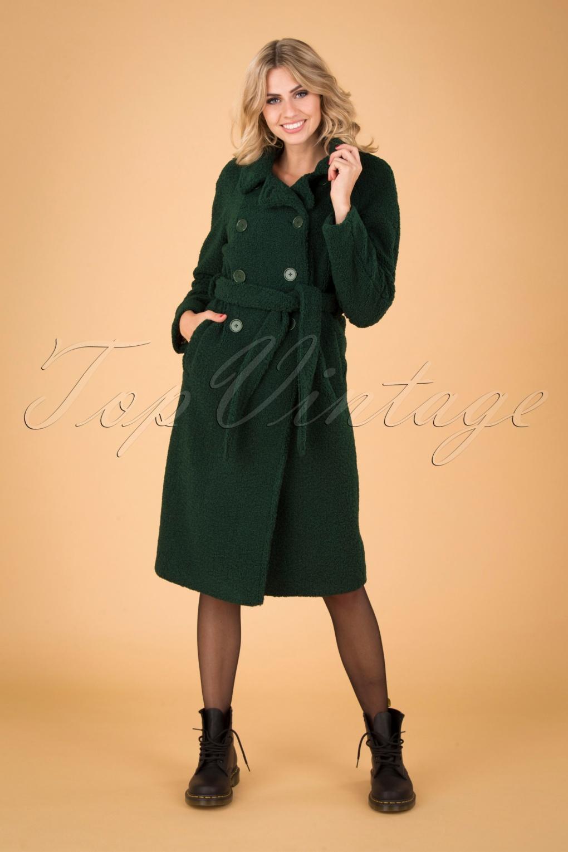 Vintage Coats & Jackets | Retro Coats and Jackets 60s Edith Murphy Coat in Pine Green £136.17 AT vintagedancer.com
