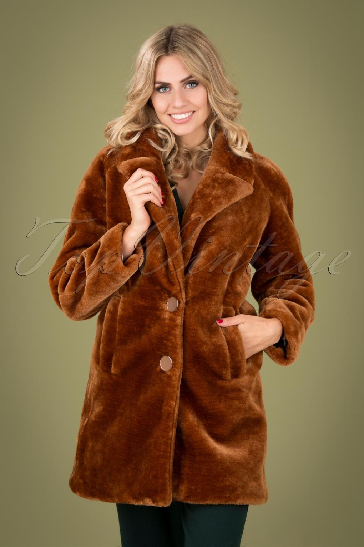 70s Jackets, Furs, Vests, Ponchos 70s Amy Zoot Coat in Brunette Brown £115.51 AT vintagedancer.com