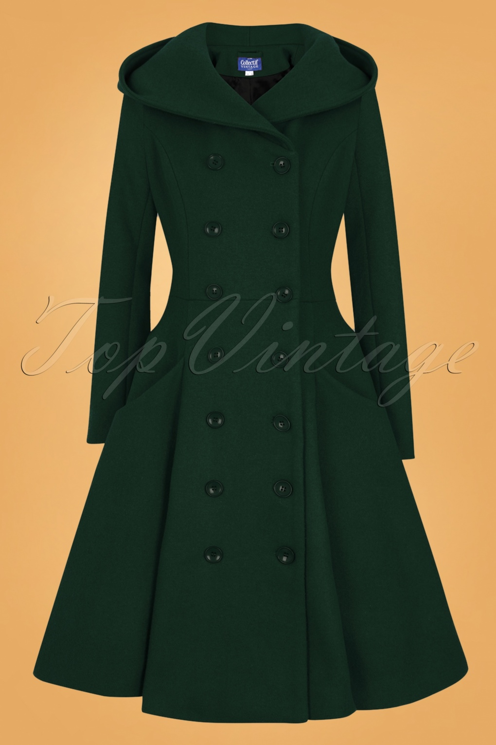 Vintage Coats & Jackets | Retro Coats and Jackets 50s Heather Hooded Swing Coat in Forest Green £154.47 AT vintagedancer.com