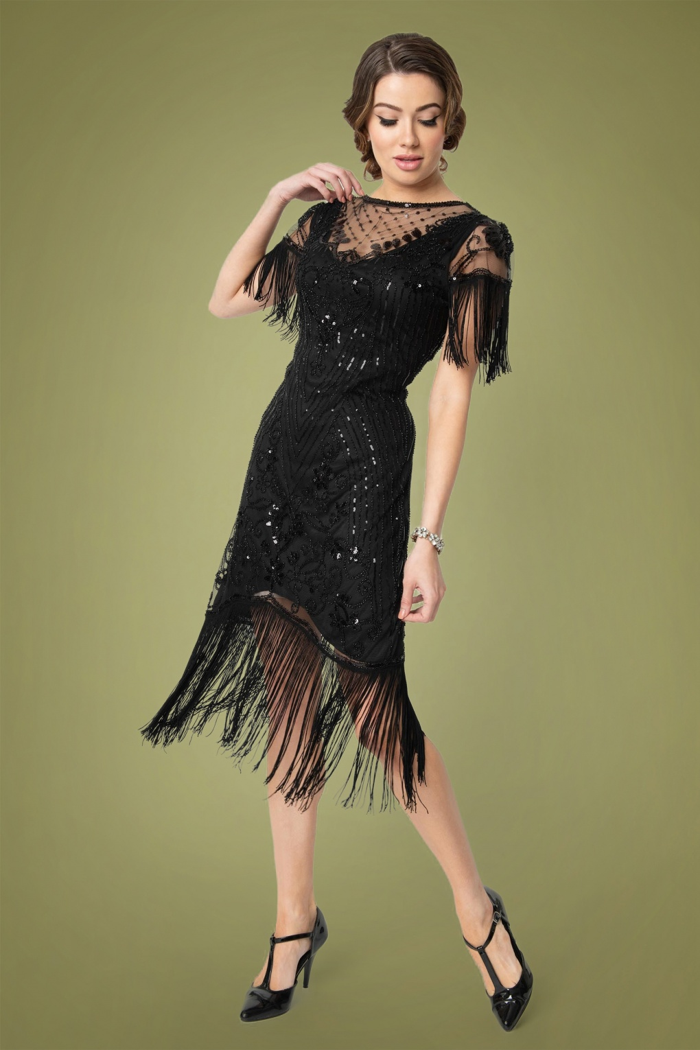 1920s Party Dresses, Great Gatsby Gowns, Prom Dresses 20s Nadine Flapper Dress in Black £75.72 AT vintagedancer.com