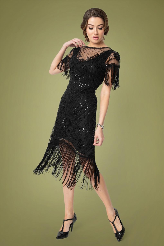 Roaring 20s Costumes- Flapper Costumes, Gangster Costumes 20s Nadine Flapper Dress in Black £75.72 AT vintagedancer.com