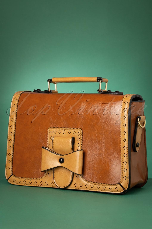 Vintage Handbags, Purses, Bags *New* 50s Scandal Office Handbag in Camel and Cognac £24.95 AT vintagedancer.com