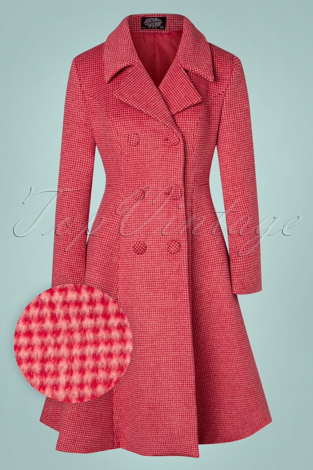 1950s Jackets, Coats, Bolero | Swing, Pin Up, Rockabilly 50s Rosalie Wool Swing Coat in Red and Pink £151.48 AT vintagedancer.com