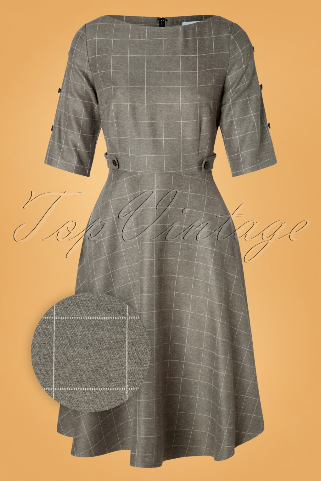 1960s Style Clothing & 60s Fashion Lady Check Swing Dress in Grey £49.58 AT vintagedancer.com