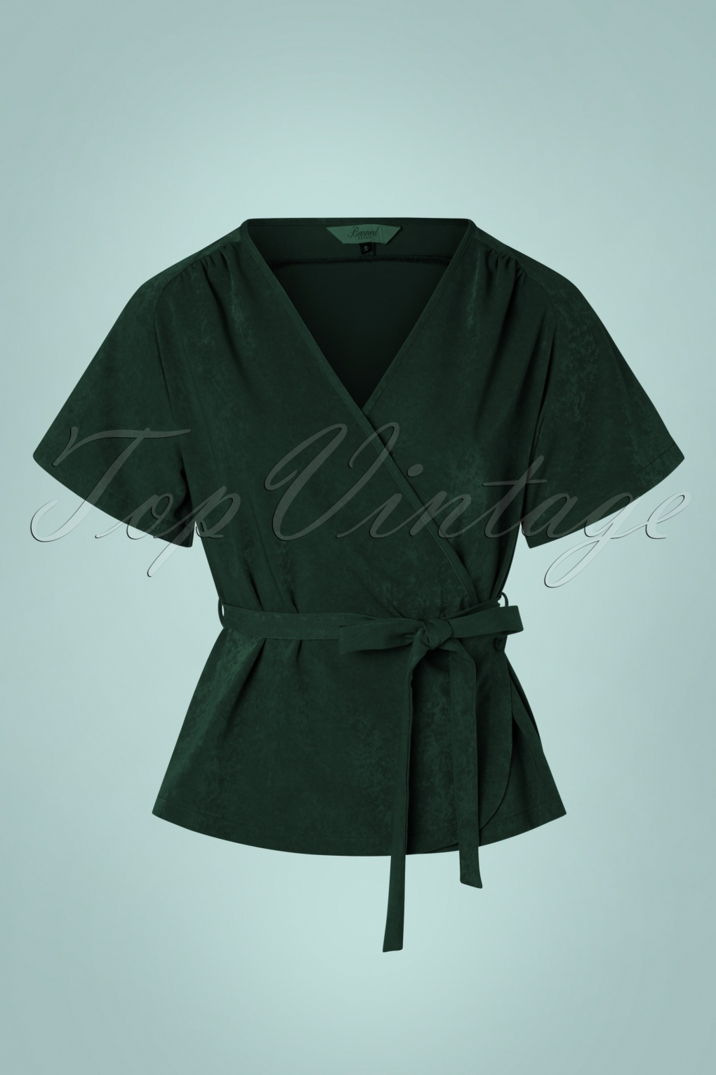 1930s Style Blouses, Shirts, Tops | Vintage Blouses 30s Tara Wrap Top in Dark Green £38.18 AT vintagedancer.com