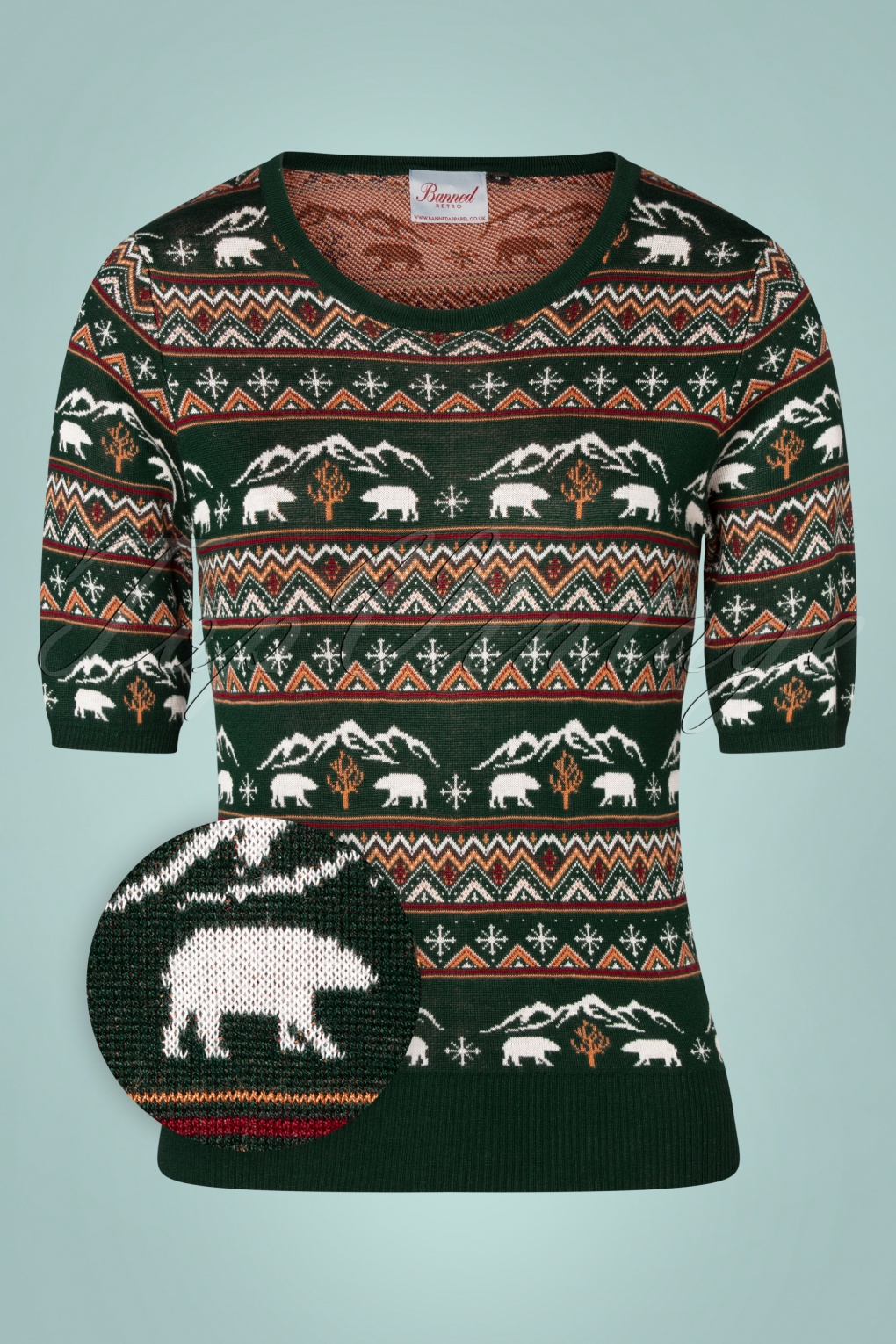 Vintage Sweaters, Retro Sweaters & Cardigan 50s Christmas Bear Jumper in Green £36.42 AT vintagedancer.com