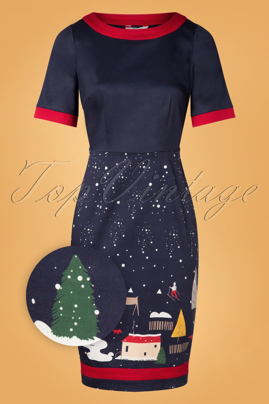 Wiggle Dresses | Pencil Dresses 40s, 50s, 60s 50s Christmas Town Pencil Dress in Navy £41.63 AT vintagedancer.com