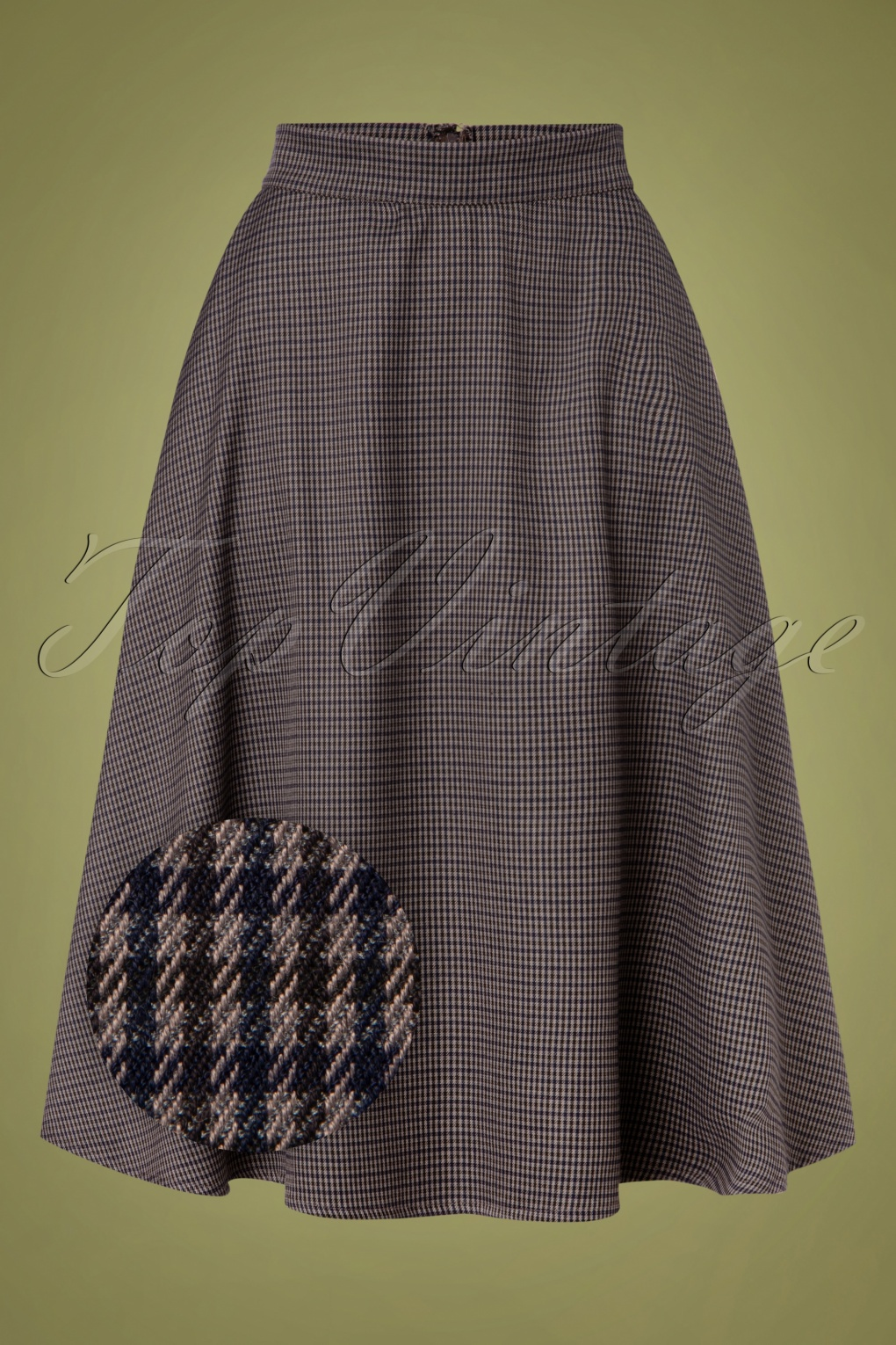 Cottagecore Clothing, Soft Aesthetic 40s Cute Check Mate Swing Skirt in Grey £36.33 AT vintagedancer.com