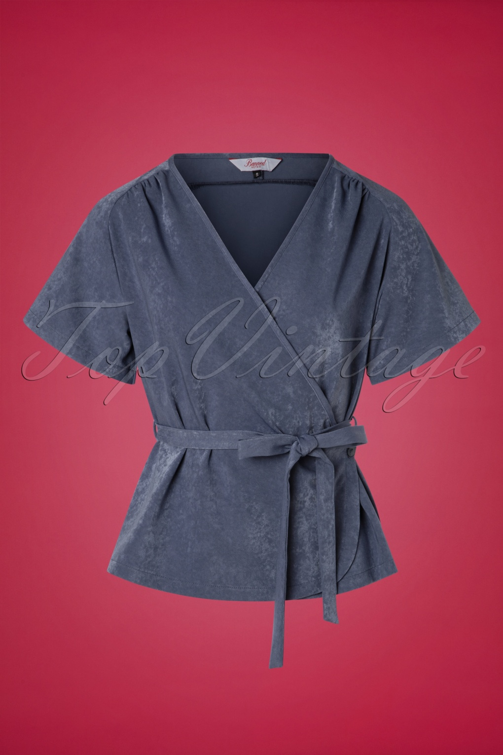 1930s Style Blouses, Shirts, Tops | Vintage Blouses 30s Tara Wrap Top in Stone Blue £38.18 AT vintagedancer.com
