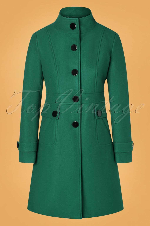 Vintage Coats & Jackets | Retro Coats and Jackets 60s Alyssa Coat in Teal £127.93 AT vintagedancer.com