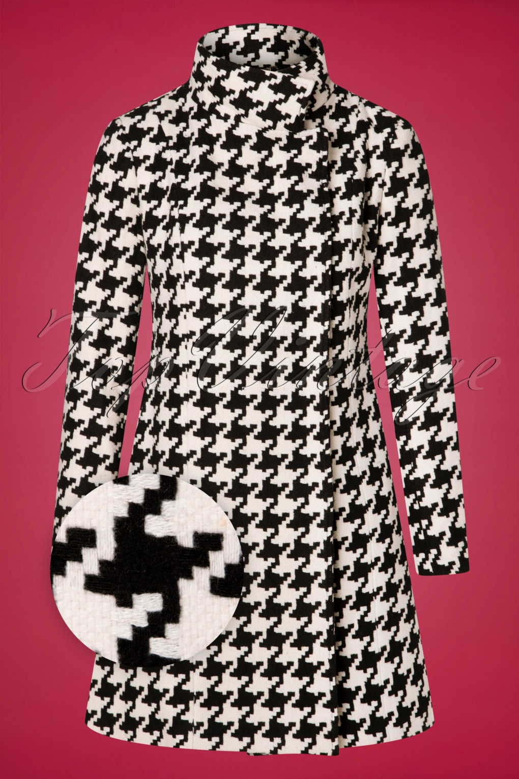 Vintage Coats & Jackets | Retro Coats and Jackets 60s Jackie Coat in Black and White Houndstooth £127.59 AT vintagedancer.com