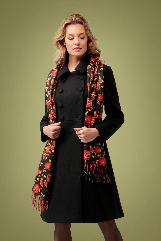 Vintage Coats & Jackets | Retro Coats and Jackets 60s Aubrey Coat in Black £127.93 AT vintagedancer.com