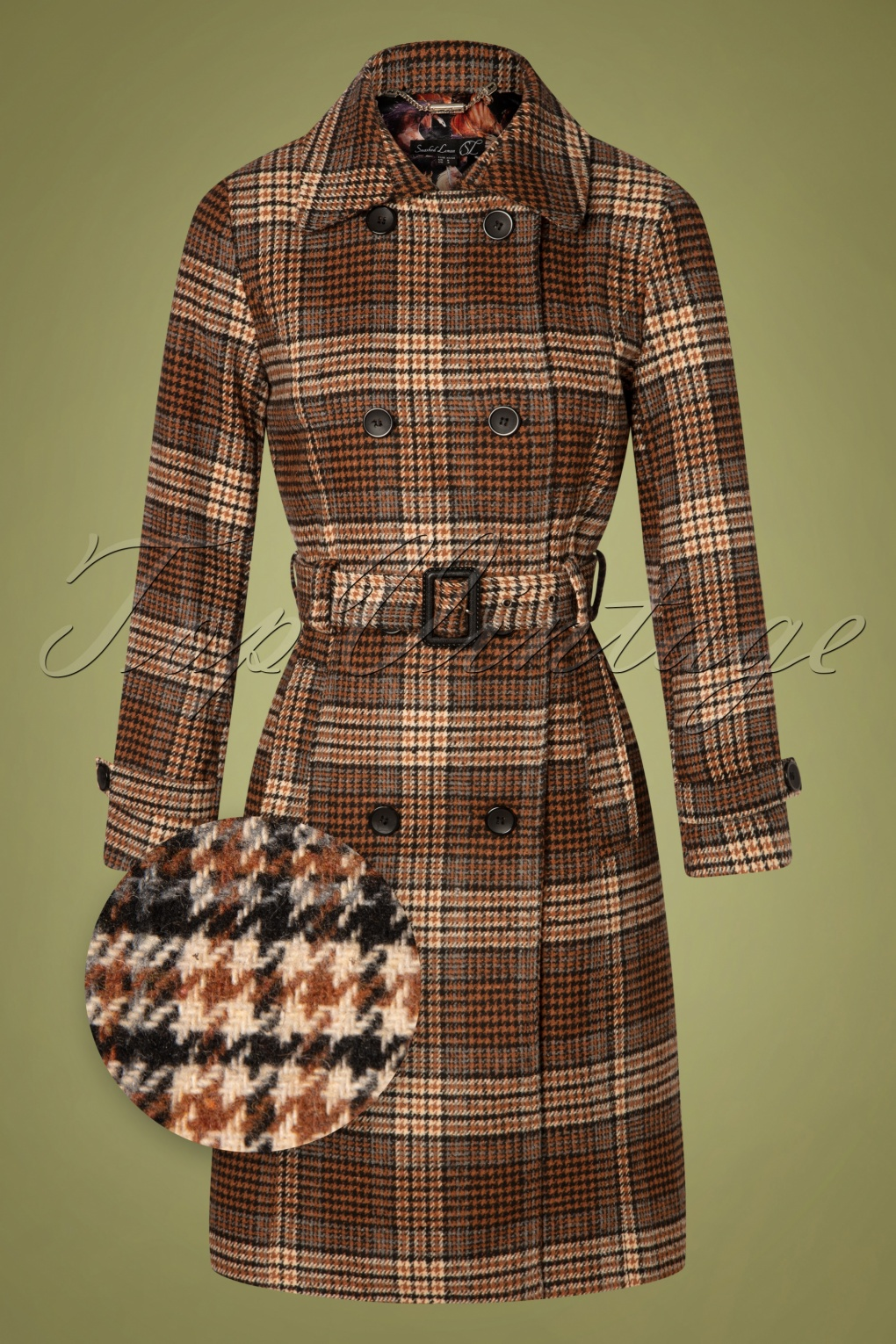 Vintage Coats & Jackets | Retro Coats and Jackets 60s Brielle Check Coat in Brown £127.59 AT vintagedancer.com