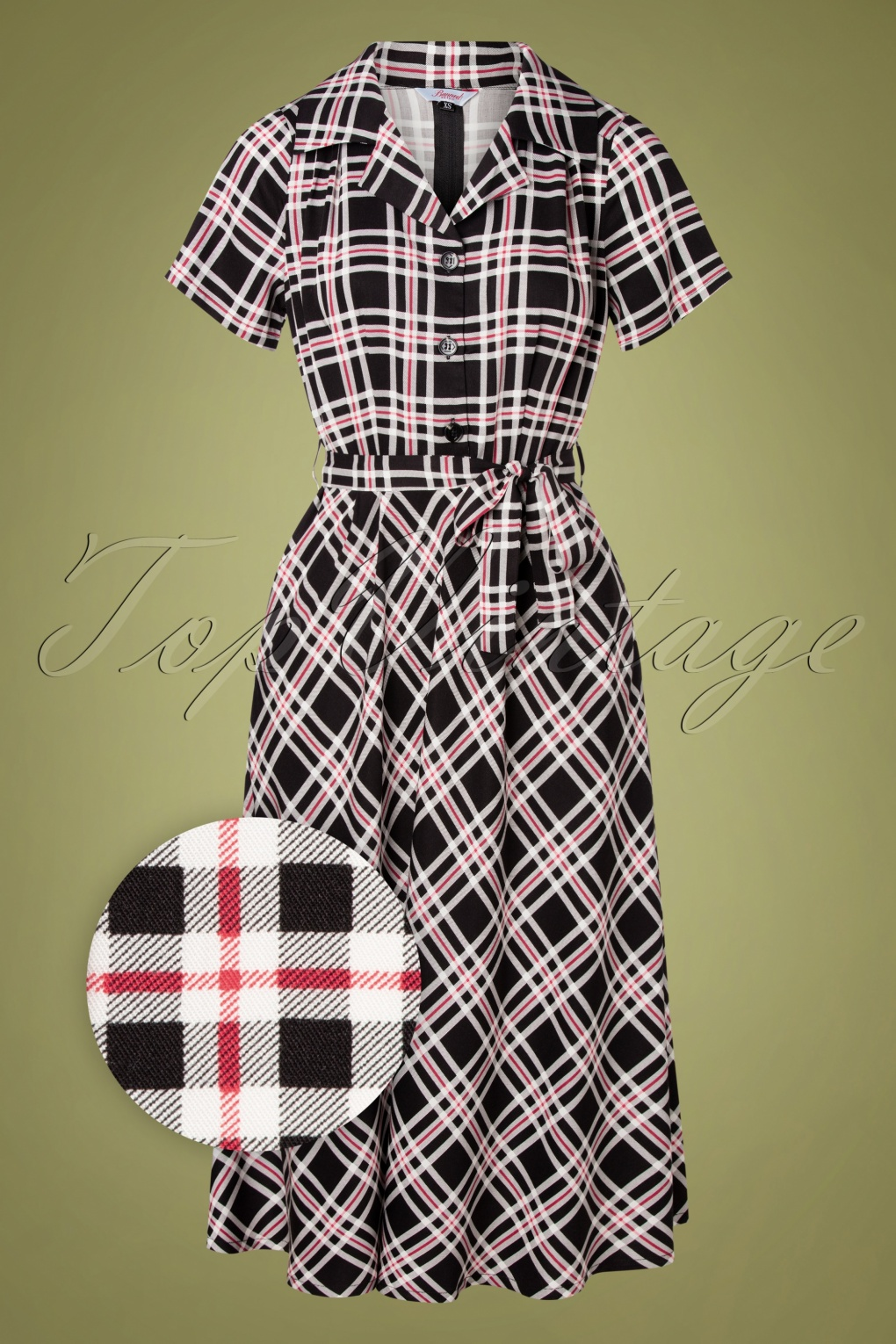 Vintage Shirtwaist Dress History 50s Dorothy Check Dress in Black £50.10 AT vintagedancer.com