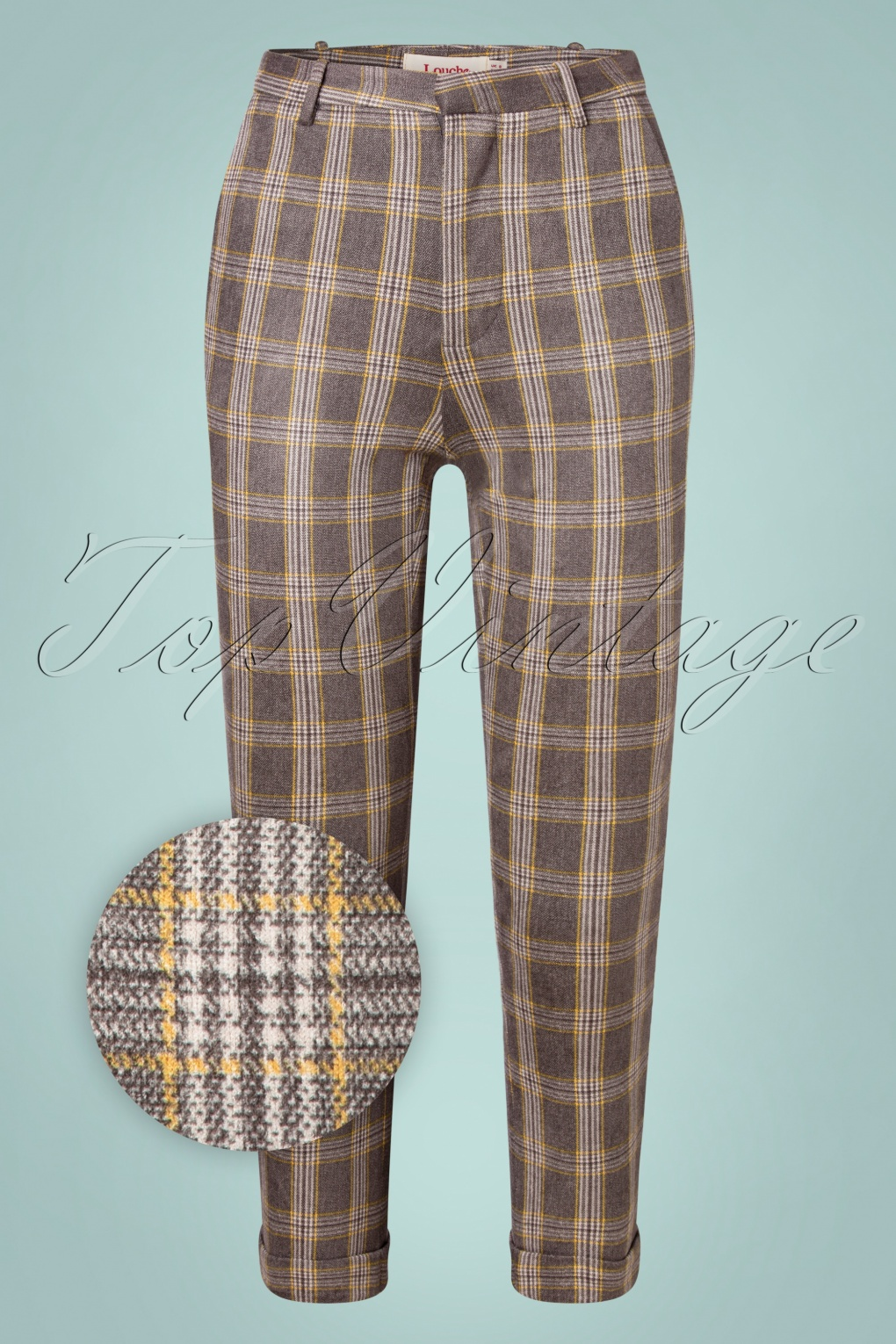 60s – 70s Pants, Jeans, Hippie, Bell Bottoms, Jumpsuits 60s Jaylo Clan Check Trousers in Grey £66.62 AT vintagedancer.com