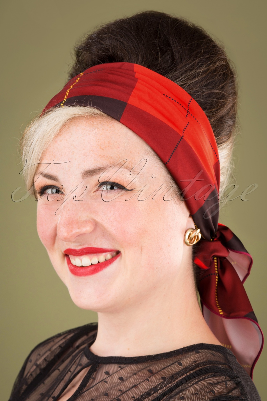 Vintage Hair Accessories: Combs, Headbands, Flowers, Scarf, Wigs 50s Plaid Hair Scarf in Red £17.39 AT vintagedancer.com