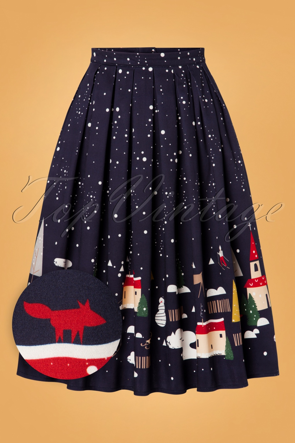 Vintage Red Dresses | Valentines Day Dresses, Outfits, Lingerie 50s Christmas Town Pleated Swing Skirt in Navy £37.84 AT vintagedancer.com
