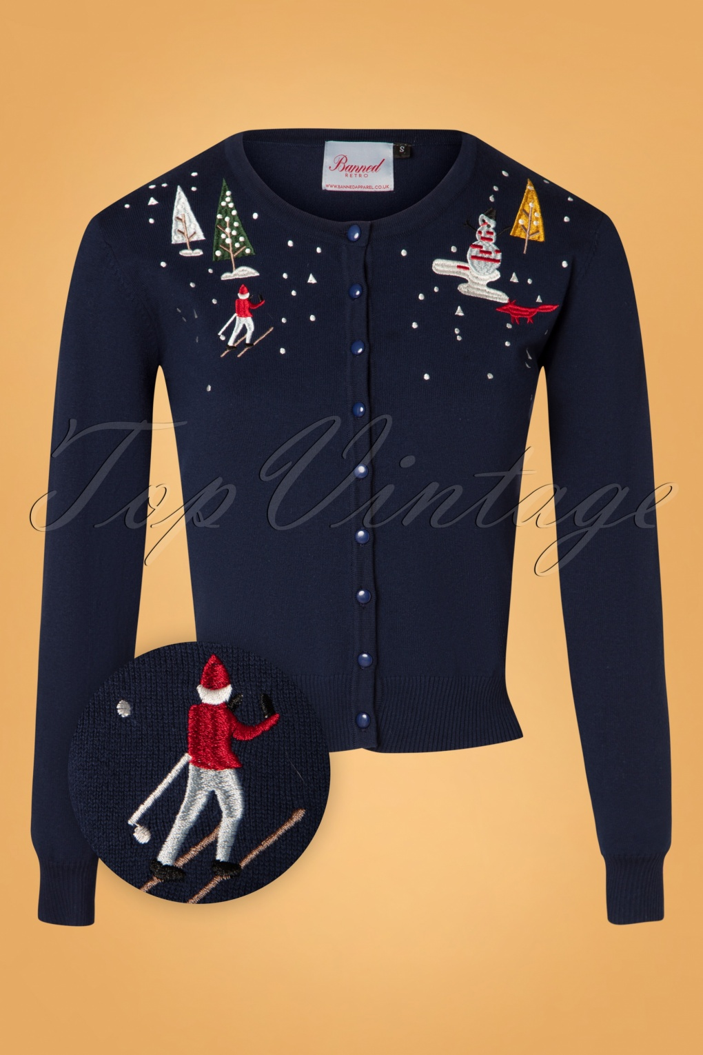 Vintage Sweaters, Retro Sweaters & Cardigan 50s Christmas Town Cardigan in Navy £34.06 AT vintagedancer.com