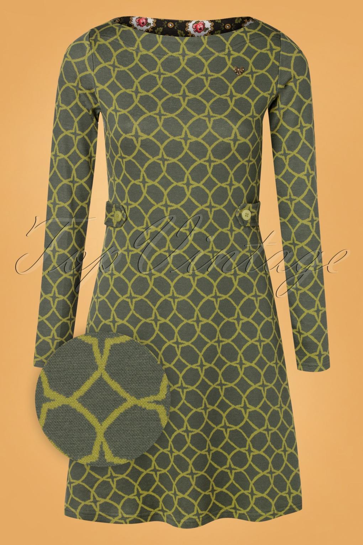 60s Dresses | 1960s Dresses Mod, Mini, Hippie 60s Sallys Tulip Dress in Wood Hood Circle Green £82.00 AT vintagedancer.com