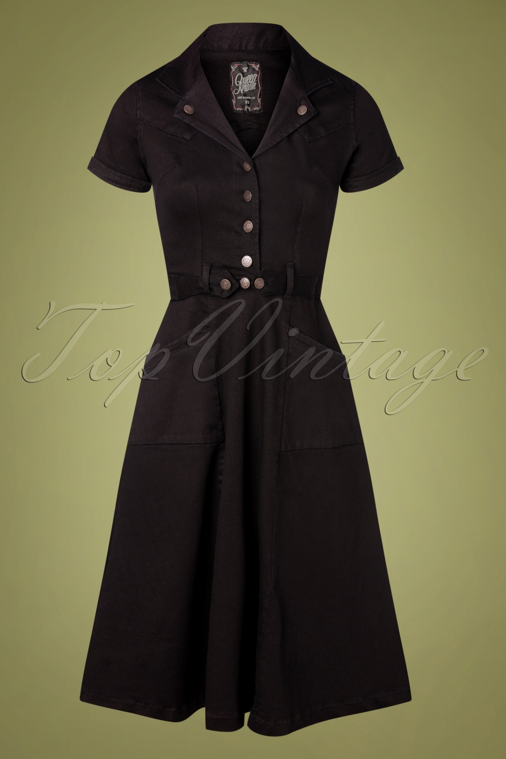 Vintage Shirtwaist Dress History 50s Workers Denim Swing Dress in Black £82.00 AT vintagedancer.com