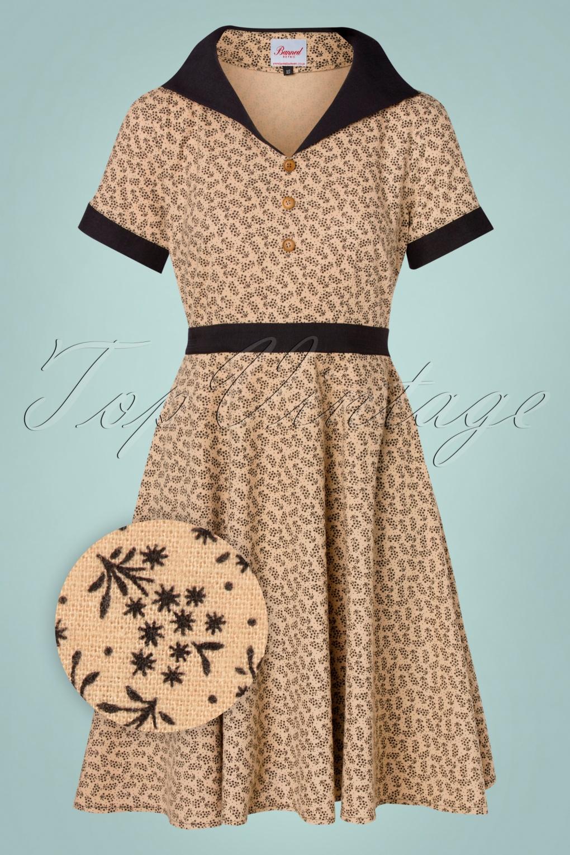 Vintage Style Dresses | Vintage Inspired Dresses 40s Ditzy Winter Floral Swing Dress in Beige £50.10 AT vintagedancer.com