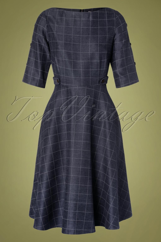 1940s Dresses | 40s Dress, Swing Dress, Tea Dresses 40s Classic Utility Swing Dress in Navy £48.84 AT vintagedancer.com