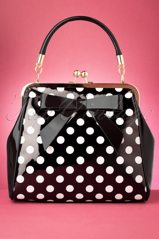 Vintage Handbags, Purses, Bags *New* 50s American Polka Patent Bag in Black £24.95 AT vintagedancer.com