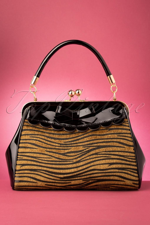Vintage Handbags, Purses, Bags *New* 50s Crazy Little Tiger Handbag in Black £24.95 AT vintagedancer.com