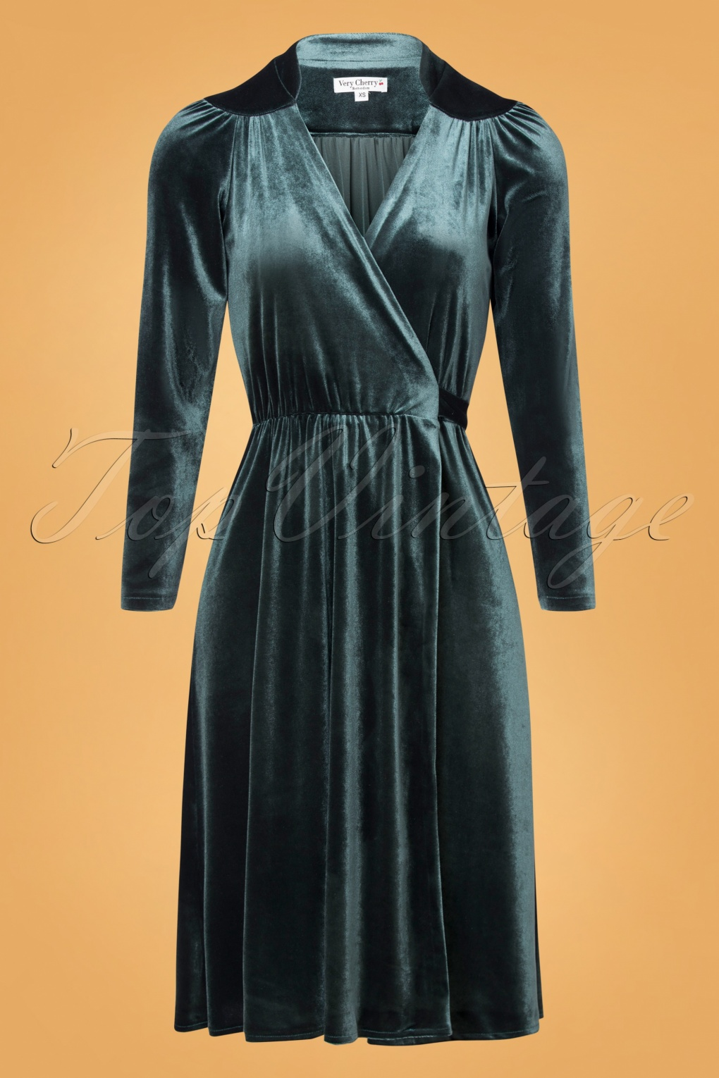 70s Prom, Formal, Evening, Party Dresses 40s Leaf Velvet Wrap Dress in Bluegris £128.84 AT vintagedancer.com