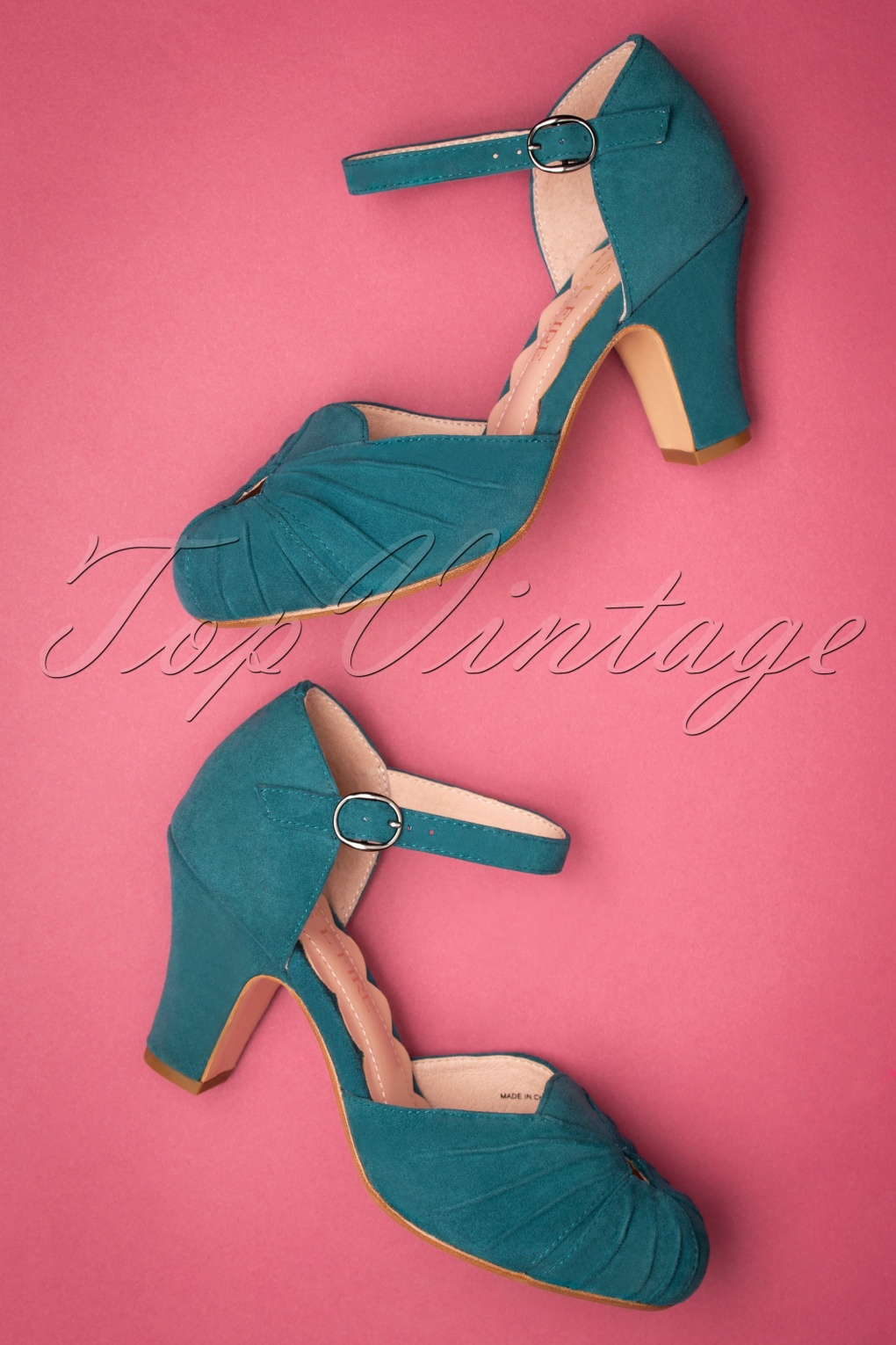 Vintage Heels, Retro Heels, Pumps, Shoes 40s Amber Suede Mary Jane Pumps in Teal £162.92 AT vintagedancer.com