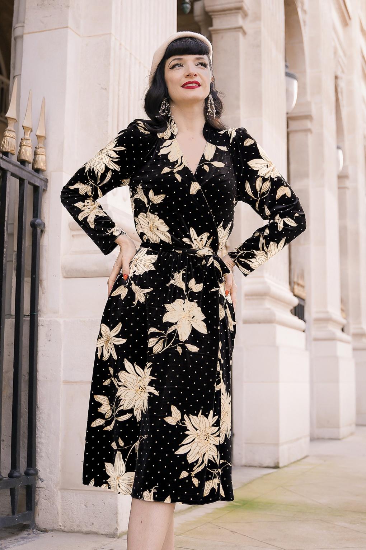 1930s Style Clothing and Fashion 40s Leaf Art Deco Flower Velvet Wrap Dress in Black £131.55 AT vintagedancer.com