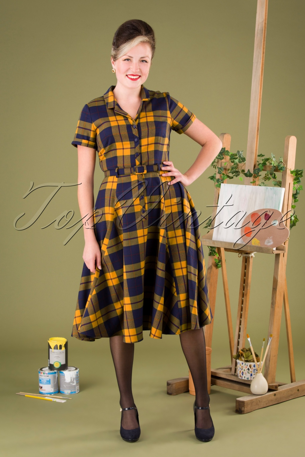Vintage Shirtwaist Dress History 50s Caterina Library Check Swing Dress in Mustard £72.89 AT vintagedancer.com