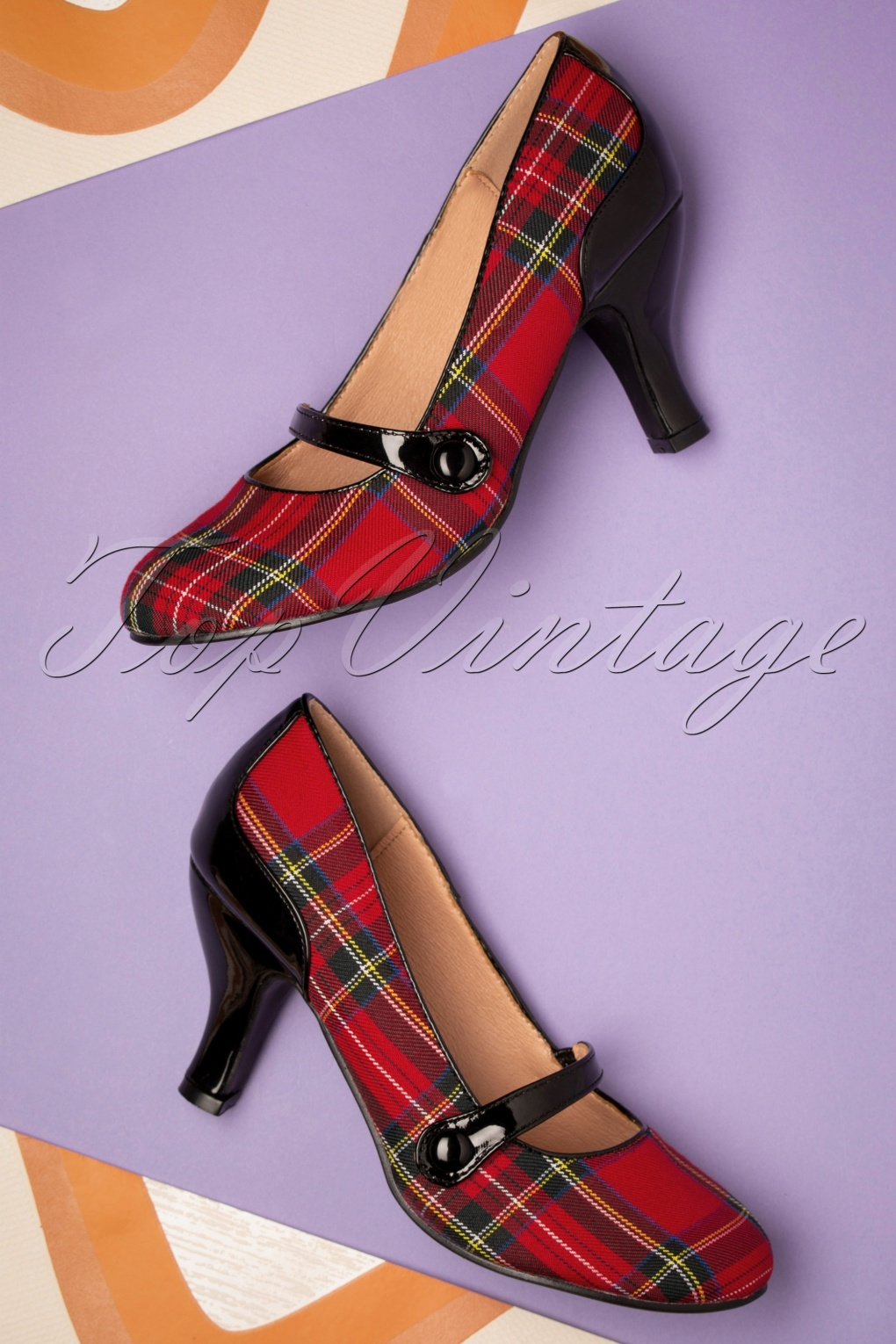 Vintage Heels, Retro Heels, Pumps, Shoes 50s Gene Tartan Pumps in Red and Black £49.87 AT vintagedancer.com