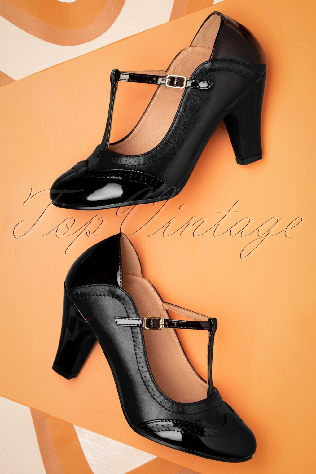 Vintage Heels, Retro Heels, Pumps, Shoes 50s Diva Blues T-Strap Pumps in Black £52.59 AT vintagedancer.com