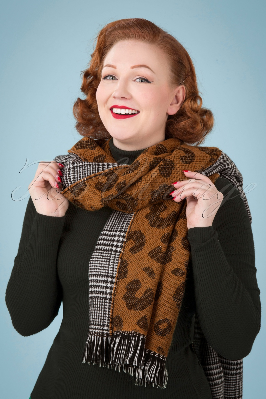 50s Hair Bandanna, Headband, Scarf, Flowers | 1950s Wigs 50s Briar Scarf in Leopard and Houndstooth £25.72 AT vintagedancer.com