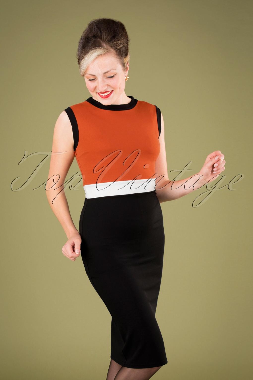 60s Dresses | 1960s Dresses Mod, Mini, Hippie 60s Bionda Pencil Dress in Black and Cinnamon £49.87 AT vintagedancer.com