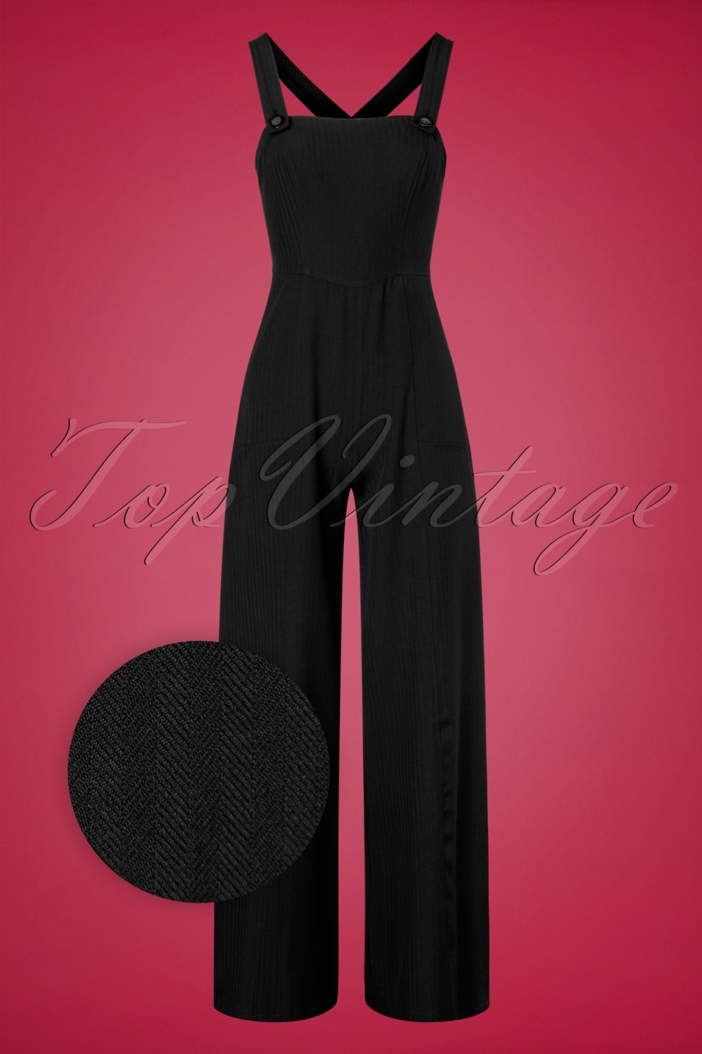 Vintage Overalls 1910s -1950s History & Shop Overalls 40s Mila Herringbone Jumpsuit in Black £75.51 AT vintagedancer.com