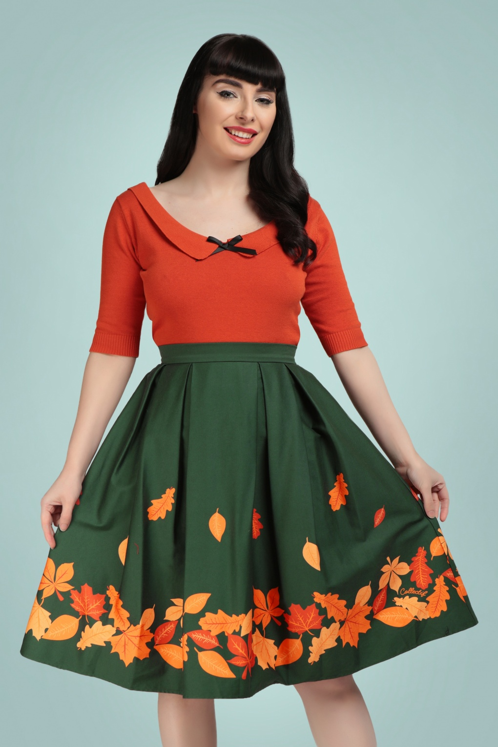 1950s Swing Skirt, Poodle Skirt, Pencil Skirts 50s Marilu Border Leaves Swing Skirt in Green £49.87 AT vintagedancer.com