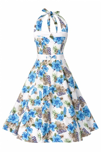 1073e01cf6447c 50s Stella Sweetheart Doll Blue Hibiscus swing dress