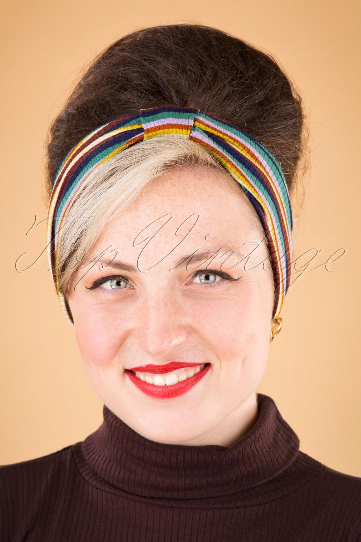70s Headbands, Wigs, Hair Accessories 70s Margot Daydream Stripe Hairband in Spicy Brown £13.52 AT vintagedancer.com